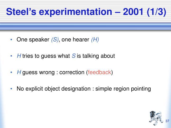 Steel's experimentation – 2001 (1/3)