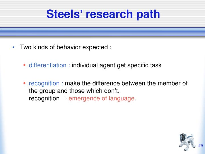 Steels' research path