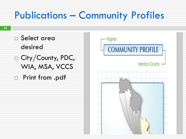 Publications – Community Profiles