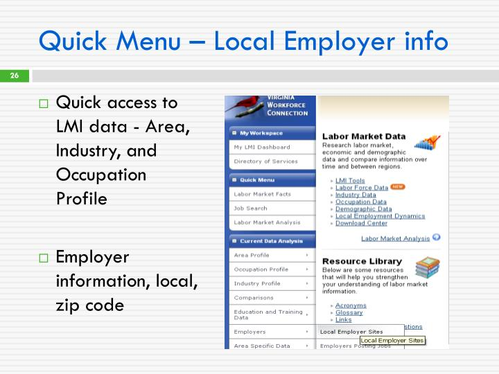 Quick Menu – Local Employer info