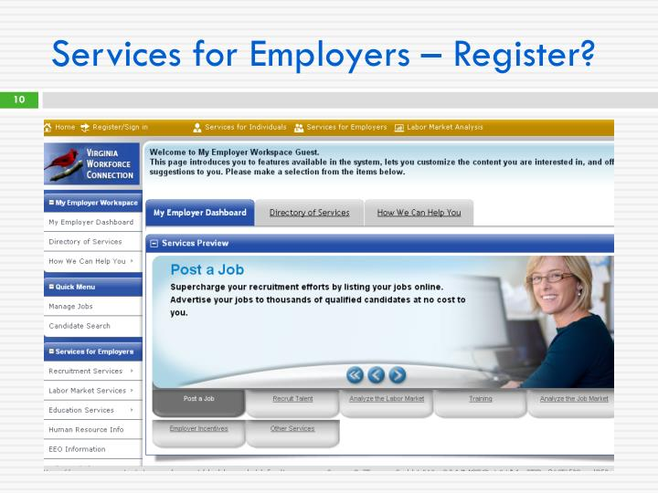 Services for Employers – Register?