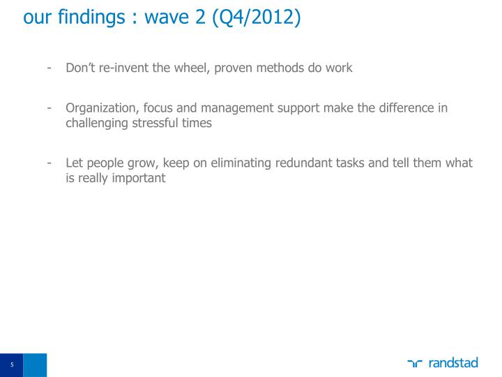 our findings : wave 2 (Q4/2012)
