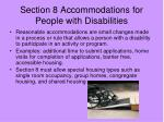 section 8 accommodations for people with disabilities