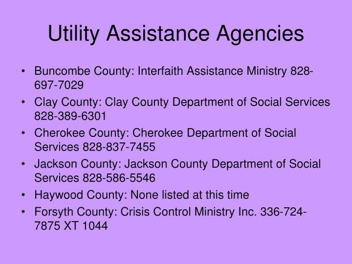 Utility Assistance Agencies