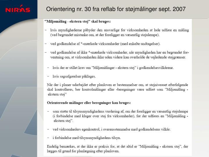 Orientering nr. 30 fra reflab for støjmålinger sept. 2007