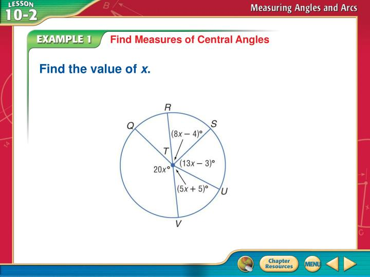 Find Measures of Central Angles
