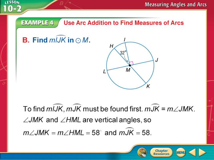 Use Arc Addition to Find Measures of Arcs