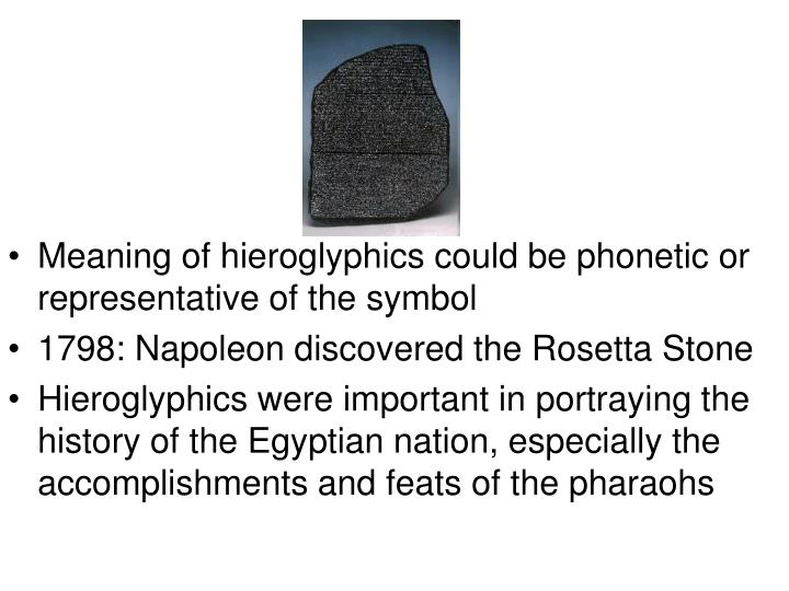 Meaning of hieroglyphics could be phonetic or representative of the symbol