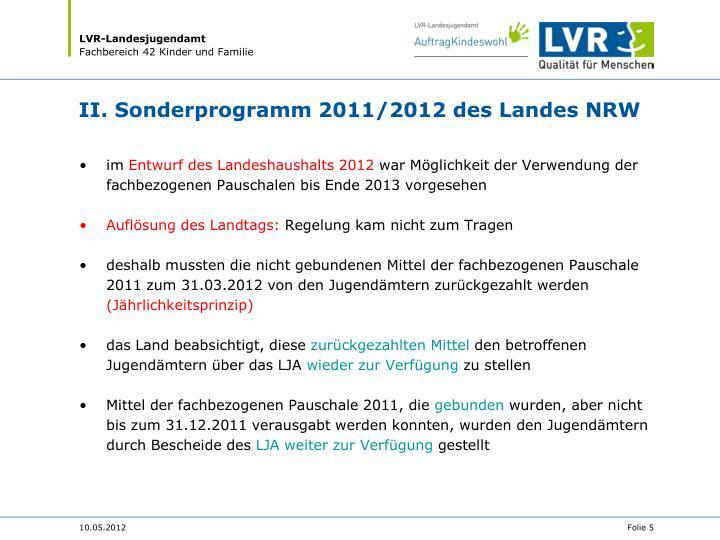 II. Sonderprogramm 2011/2012 des Landes NRW