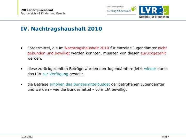 IV. Nachtragshaushalt 2010