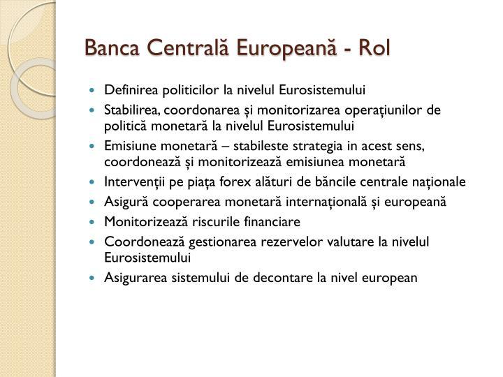 Banca Centrală Europeană - Rol