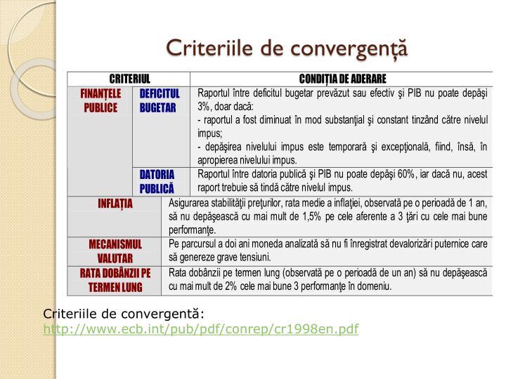 Criteriile de convergenţă