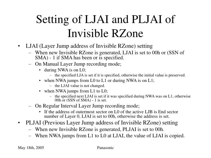 Setting of ljai and pljai of invisible rzone