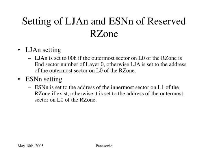 Setting of LJAn and ESNn of Reserved RZone