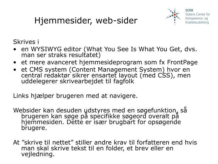 Hjemmesider, web-sider