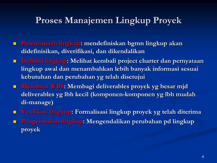 Proses Manajemen Lingkup Proyek