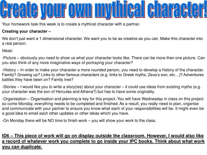 Create your own mythical character!