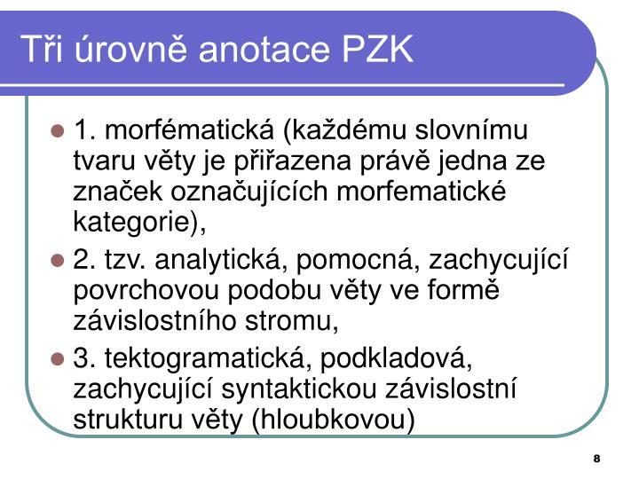 Tři úrovně anotace PZK