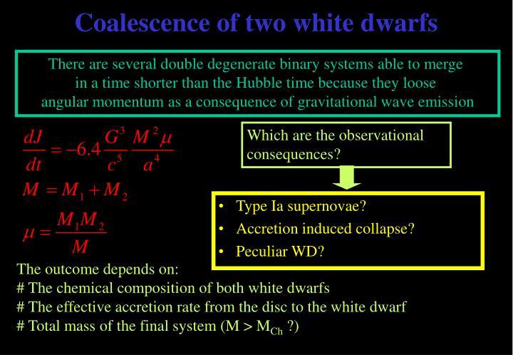 Coalescence of two white dwarfs