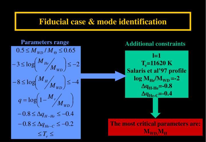 Fiducial case & mode identification