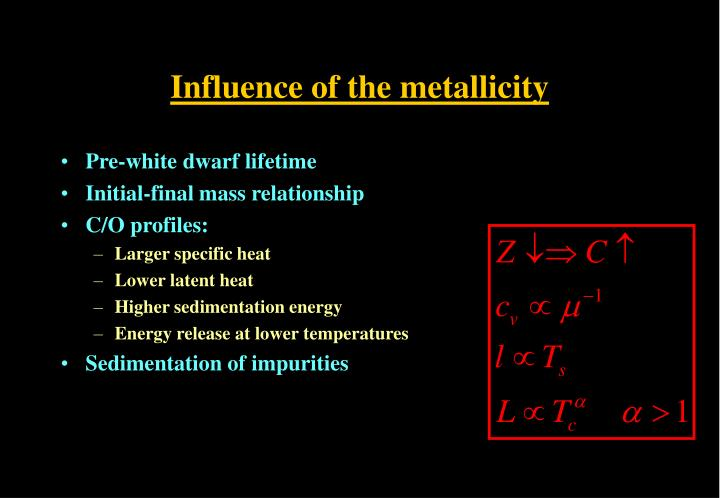 Influence of the metallicity