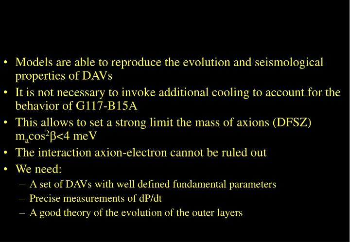 Models are able to reproduce the evolution and seismological properties of DAVs
