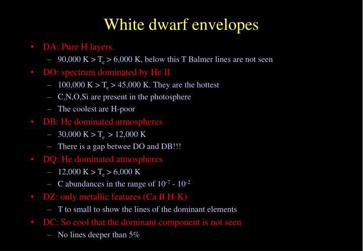 White dwarf envelopes