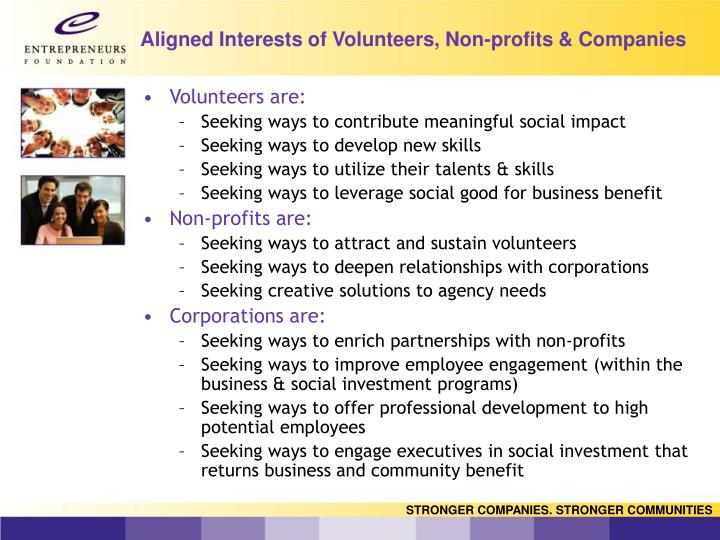 Aligned interests of volunteers non profits companies