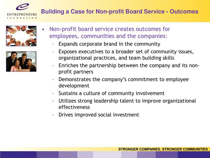 Building a Case for Non-profit Board Service - Outcomes