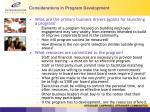 considerations in program development