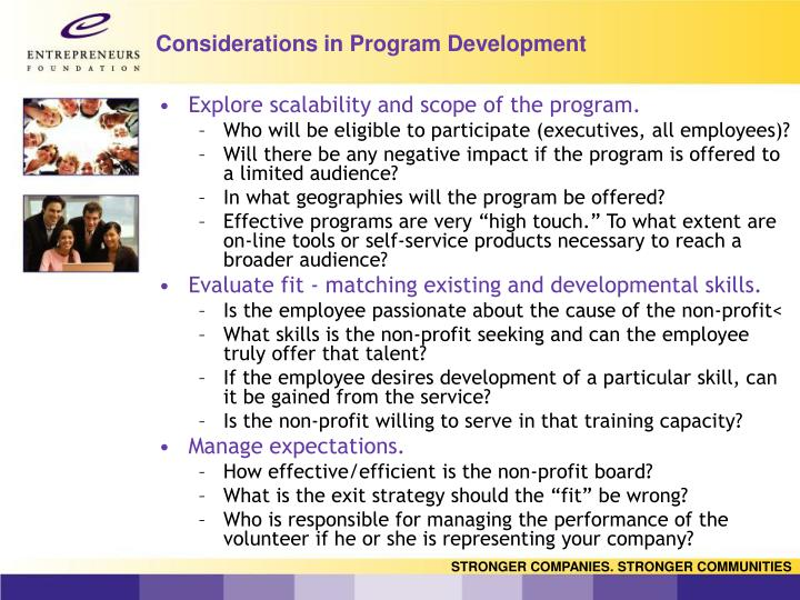 Considerations in Program Development