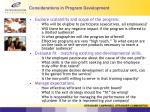considerations in program development1
