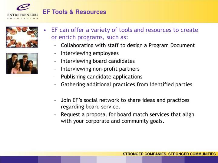 EF Tools & Resources