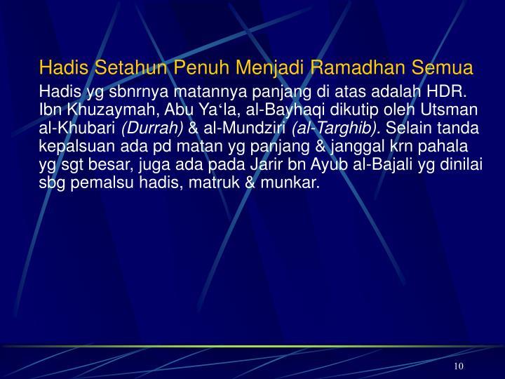 Hadis Setahun Penuh Menjadi Ramadhan Semua