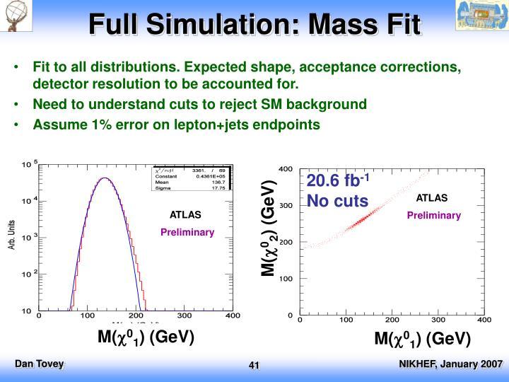 Full Simulation: Mass Fit