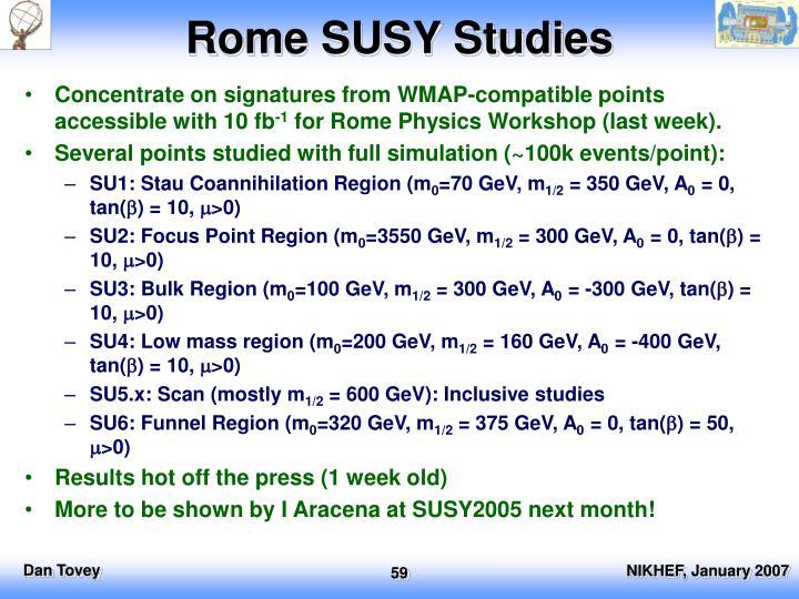 Rome SUSY Studies