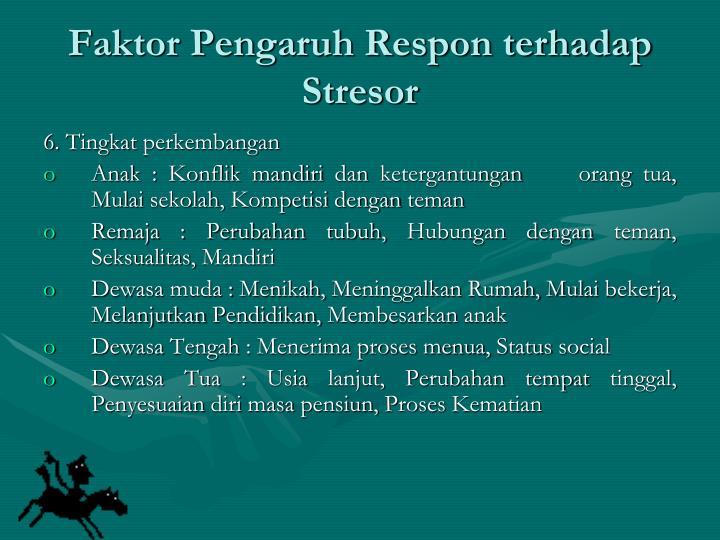 Faktor Pengaruh Respon terhadap Stresor