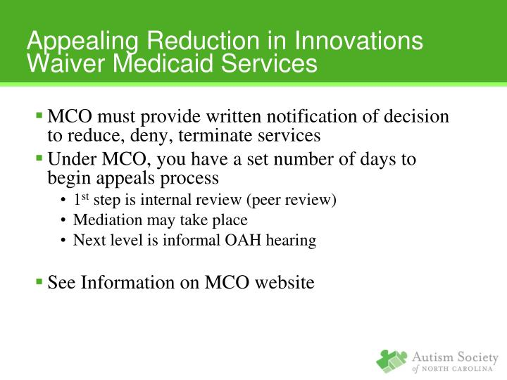 Appealing Reduction in Innovations Waiver Medicaid Services