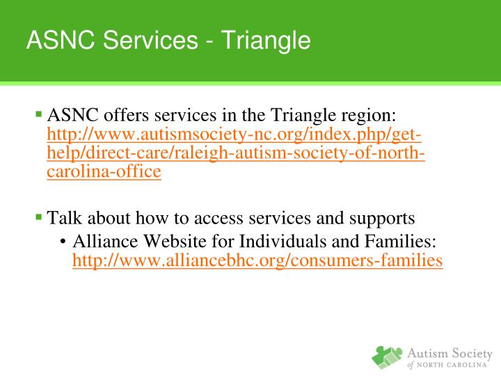 ASNC offers services in the Triangle region: