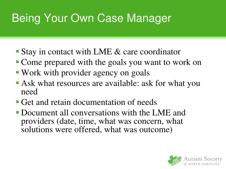 Being Your Own Case Manager