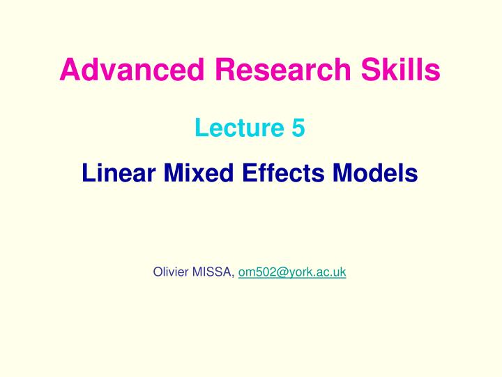 lecture 5 linear mixed effects models