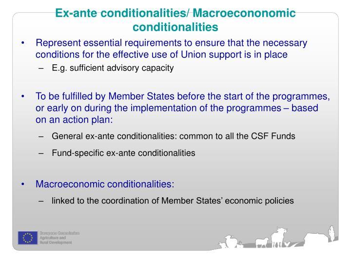 Ex-ante conditionalities/ Macroecononomic conditionalities