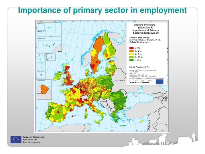 Importance of primary sector in employment