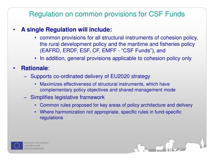 Regulation on common provisions for CSF Funds