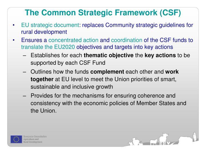 The Common Strategic Framework (CSF)