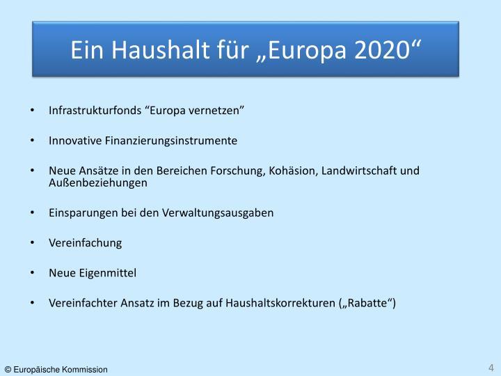 """Ein Haushalt für """"Europa 2020"""""""