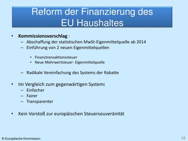 Reform der Finanzierung des