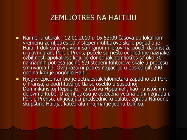 ZEMLJOTRES NA HAITIJU