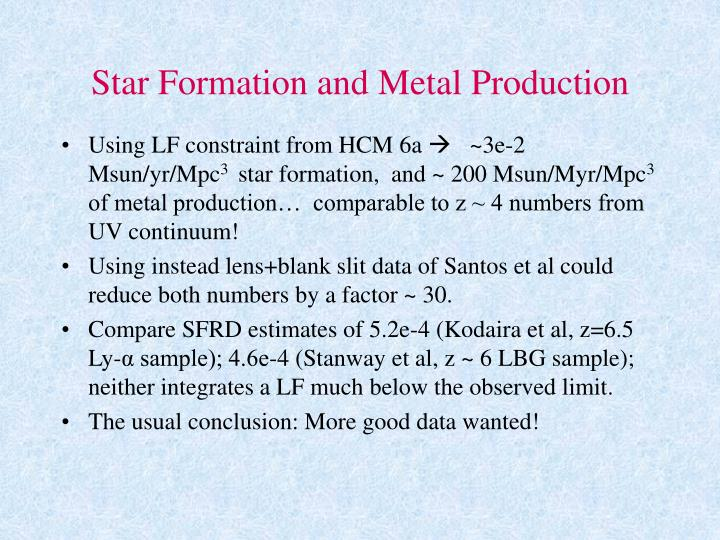 Star Formation and Metal Production