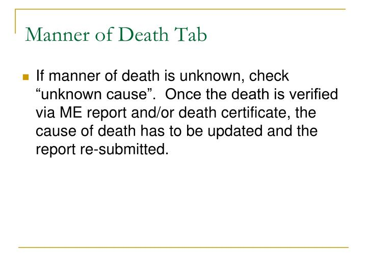 Manner of Death Tab